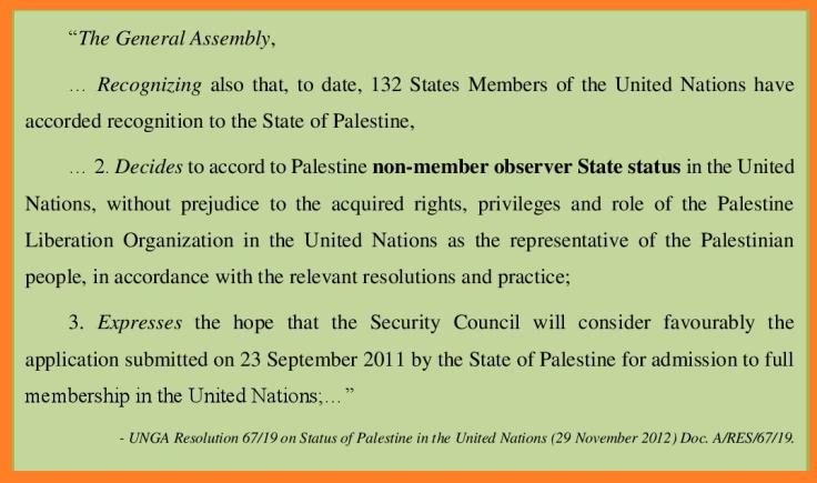 UNGA res 67 19 Palestine