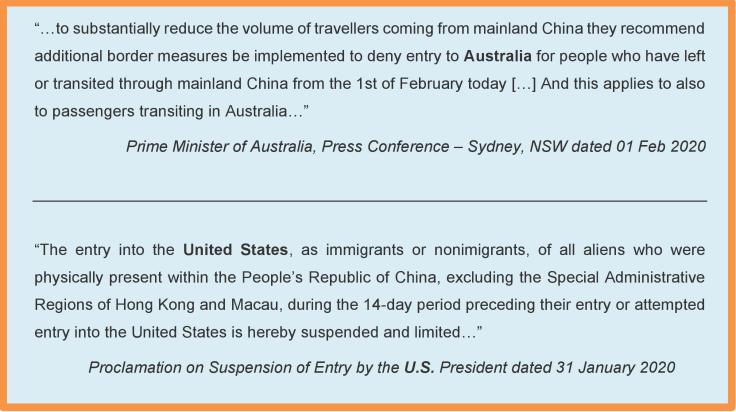 nCoV ban travelers