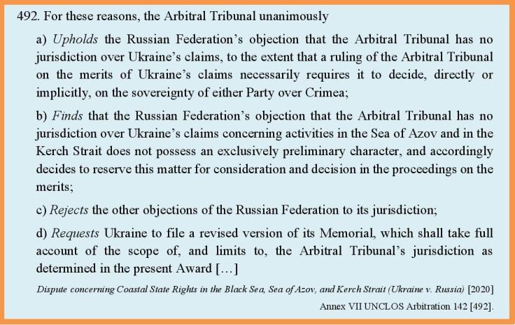 Ukr v Russ Arbitration Annex VII 2020